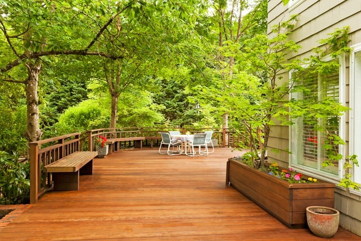expansive deck in backyard