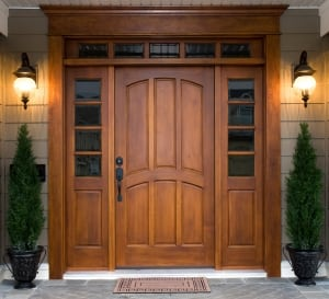 Wood Door with sidelights and transom