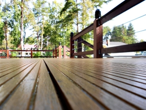 Deck With Trees In Background